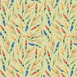 Watercolor autumn floral pattern