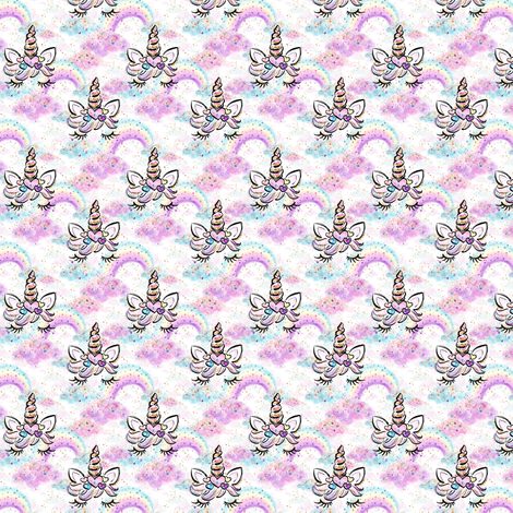 "unicorn  rainbows n clouds small 1"" fabric by parisbebe on Spoonflower - custom fabric"