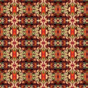 BNS7 - Small Marbled Mystery Tapestry in Rust - Brown - Orange - Green