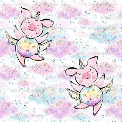 Unicorn piggies in confetti clouds