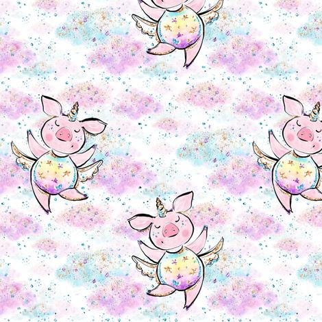 Unicorn piggies in confetti clouds fabric by parisbebe on Spoonflower - custom fabric