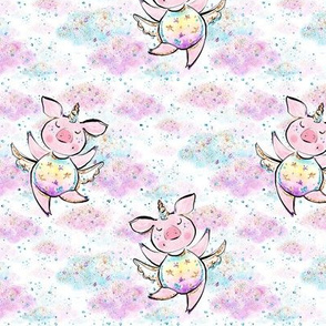 Unicorn piggies in confetti clouds