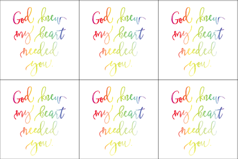 6 loveys: god knew my heart needed you rainbow baby fabric by ivieclothco on Spoonflower - custom fabric