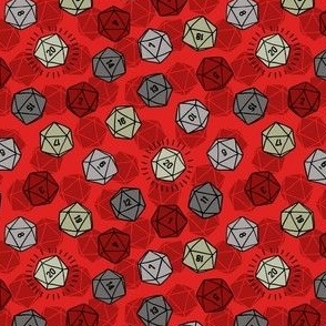 Tossed d20 in Silver & Red
