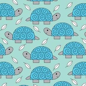 turtles and leaves on light teal