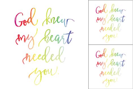 1 blanket + 2 loveys: god knew my heart needed you rainbow baby fabric by ivieclothco on Spoonflower - custom fabric