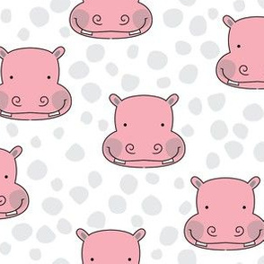 pink hippo faces with grey dots