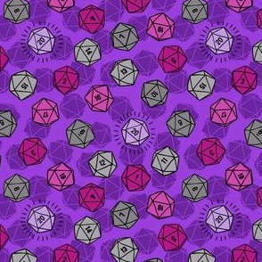 Tossed d20 in Silver & Purple