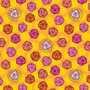 Tossed d20 in Pink & Orange