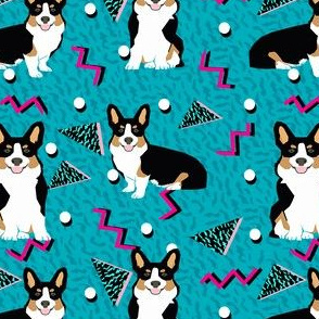 tri corgi rad dog - cute 80s, 90s dog, zig zag dots fabric - blue