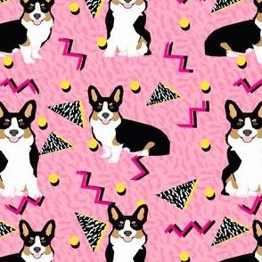tri corgi rad dog - cute 80s, 90s dog, zig zag dots fabric - pink