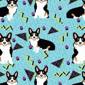 tri corgi rad dog - cute 80s, 90s dog, zig zag dots fabric - blue