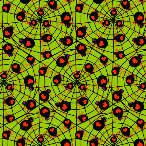 Spiders Love Halloween on Slime Green fabric by eclectic_house on Spoonflower - custom fabric