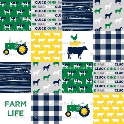 farm life - wholecloth green, yellow, and navy - woodgrain C18BS