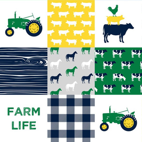 farm life - wholecloth green, yellow, and navy - woodgrain C18BS
