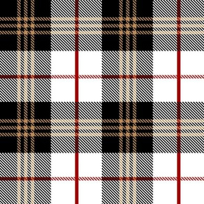 Scottish Tartan Plaid | Black, White, Tan and Red