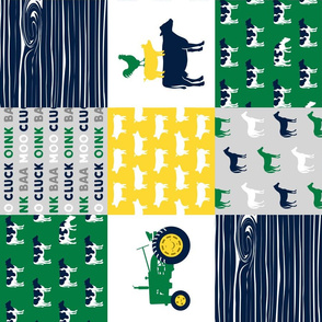 farm life - wholecloth green, yellow, and navy - woodgrain C18BS (90)