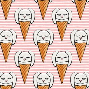 bunny ice-cream cones -light pink stripes