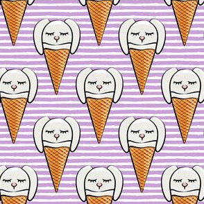 bunny ice-cream cones - purple stripes
