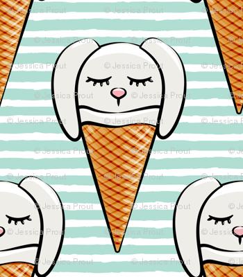 bunny ice-cream cones - aqua stripes