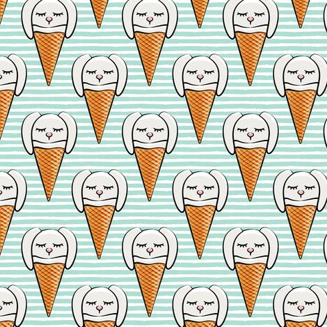 bunny ice-cream cones - aqua stripes fabric by littlearrowdesign on Spoonflower - custom fabric