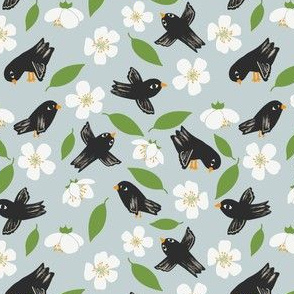 Blackbirds and Apple Blossom Blue