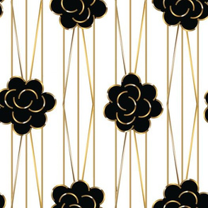 20's Rose deco black & white