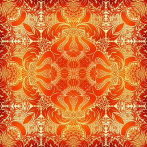 Damask in Reds and Golds