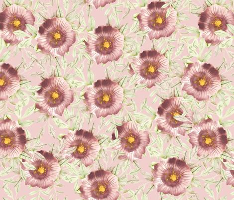 watercolor flowers with leaves fabric by katrinkastem on Spoonflower - custom fabric