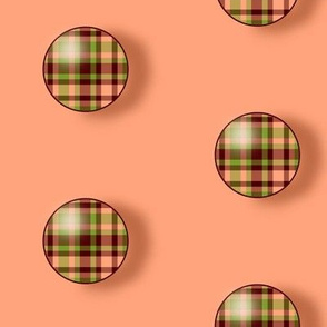 BNS7 - Large Plaid Polka Dots on Pastel Peach