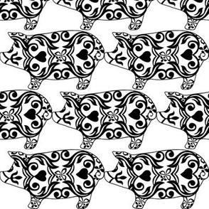 I like you PIGGY, Nose to Tail / black & white