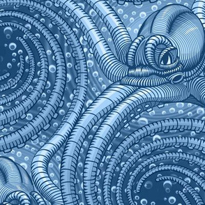 ★ KRAKEN ' ROLL ★ Monochrome Blue - Large Scale / Collection : Kraken ' Roll – Steampunk Octopus Print