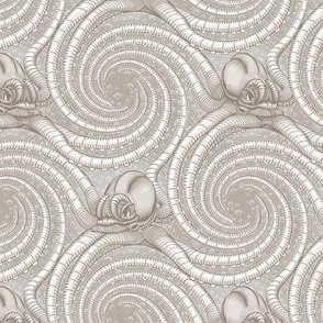★ KRAKEN ' ROLL ★ Monochrome Light Sand Gray - Small Scale / Collection : Kraken ' Roll – Steampunk Octopus Print