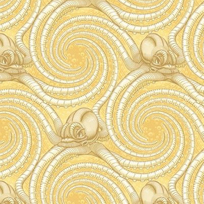 ★ KRAKEN ' ROLL ★ Monochrome Light Golden Yellow - Small Scale / Collection : Kraken ' Roll – Steampunk Octopus Print