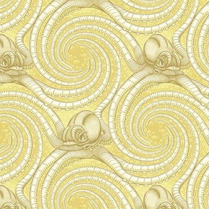 ★ KRAKEN ' ROLL ★ Monochrome Light Mustard Yellow - Small Scale / Collection : Kraken ' Roll – Steampunk Octopus Print