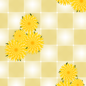 dandelion flowers on yellow checkerboard