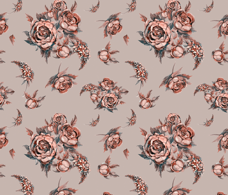 Watercolor flowers. Roses, peonies, lilacs. Ancient bouquets of flowers. Wedding bouquet. Pastel color. Beige background.  fabric by olga_griga on Spoonflower - custom fabric