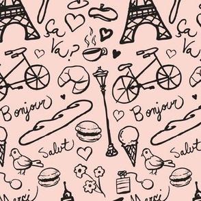 Parisian Vacation (black on pink)