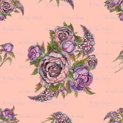 Watercolor flowers. Roses, peonies, lilacs. Ancient bouquets of flowers. Wedding bouquet. Pastel color.