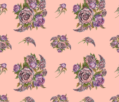 Watercolor flowers. Roses, peonies, lilacs. Ancient bouquets of flowers. Wedding bouquet. Pastel color.  fabric by olga_griga on Spoonflower - custom fabric