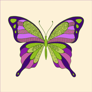 butterfly pillow in green and purple