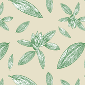 Rhododendron Large Scale Upholstery Print, Green Leaves on Tan