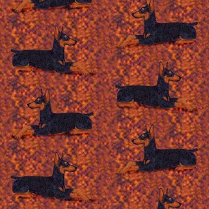 Black and Rust Doberman Lying Down on Textured Rust Background