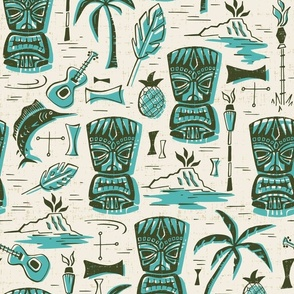 Tropical Tiki - Cream & Aqua