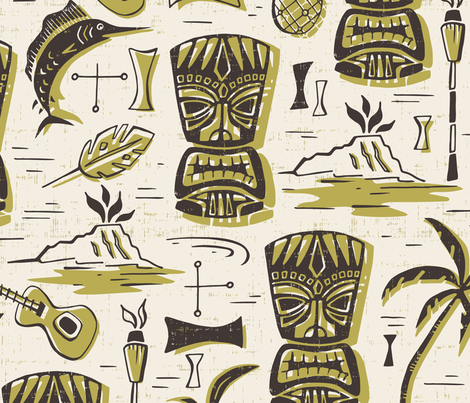 Tropical Tiki - Cream & Green Jumbo Scale fabric by heatherdutton on Spoonflower - custom fabric