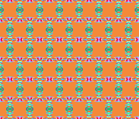 Tribal Pattern Square Like on Orange Background fabric by lauriekentdesigns on Spoonflower - custom fabric