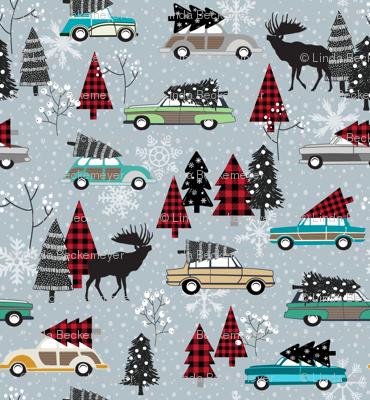 Christmas Tradition - Vintage Cars + Christmas Trees - winter grey