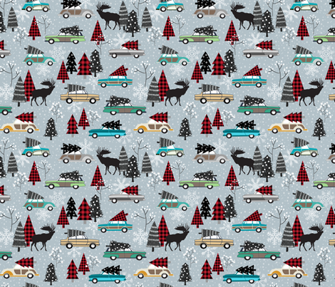 Christmas Tradition - Vintage Cars + Christmas Trees - winter grey fabric by gingerlous on Spoonflower - custom fabric