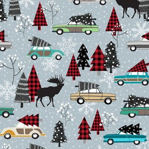 Christmas Tradition - Vintage Cars + Christmas Trees - winter grey