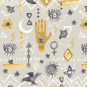 Mystic Eye Hand Beige Yellow